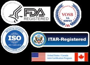 FDA Registered, VOSB, ISO, ITAR-Registered, United States / Canada Joint Certification Program